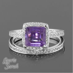 Princess Cut Amethyst Engagement Ring and Wedding Band Set with Diamonds - LS1721