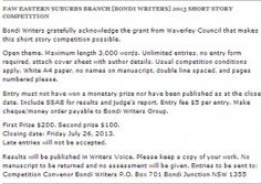 Faw Eastern Suburbs Branch [BONDI WRITERS] 2013 Short Story Competition
