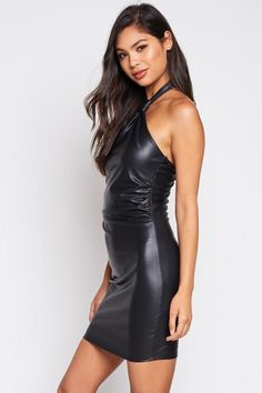Sheer beauty and simplicity.and this lady looking sexy in a leather dress is simply a sheer beauty too. Black Leather Skirts, Leather Dresses, Sexy Outfits, Fashion Outfits, Womens Fashion, Filipino Fashion, Vinyl Clothing, Models, Leather Fashion