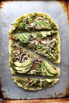 Pesto and Asparagus Flatbread Pizza with Tahini Dressing - Paleo Vegan Gluten Free Grain Free Dairy Free low allergen and anti-inflammatory recipes from rally pure nut free soy free top 8 free Vegan Gluten Free, Paleo Vegan, Vegan Recipes, Paleo Pesto, Vegan Asparagus Recipes, Vegan Pizza Recipe, Flatbread Pizza Recipes, Vegetarian Pizza, Vegan Flatbreads