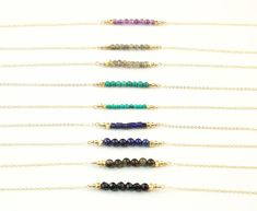 Short Bead Bar Necklace // Delicate Gold Necklace // Choose Your Gemstone Beads // 14K Gold Fill or Sterling Silver Option