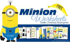 """Couple of pages would make for fun counting... i.e. """"How many goggles can you fit on the minion?"""" FREE Minion Worksheets for Kids"""