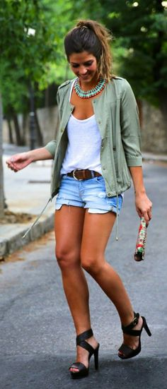 Denim shorts outfits. You'll love it! #denim #shorts #jeans #szorty #krotkiespodenki #spodenki #stylizacje #outfits
