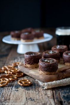 Mini Chocolate Stout Cheesecake with Salted Beer Caramel Sauce