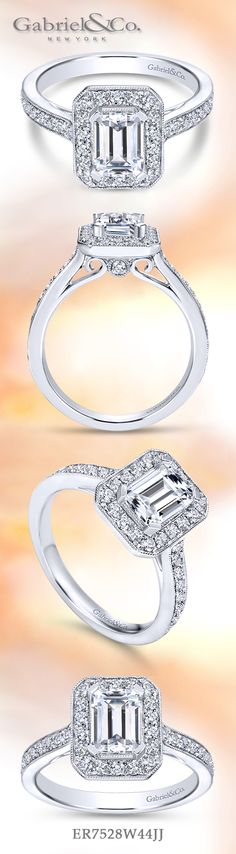 Gabriel & Co. - Voted #1 Most Preferred Bridal Brand.   This 14k white gold emerald cut diamond halo engagement ring is beautifully crafted with side diamond channels.