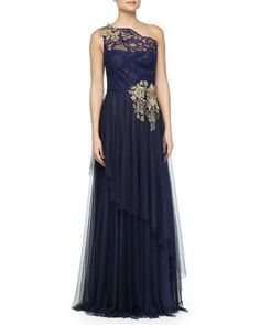 TA78L Marchesa Notte One-Shoulder Embroidered Gown