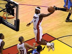 Miami Heat small forward LeBron James (6) dunks against