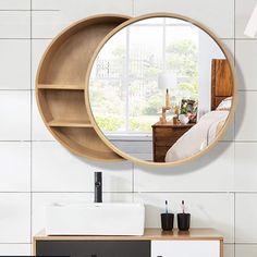 Bathroom Mirror Cabinet, Bathroom Wood Shelves, Mirror Cabinets, Bathroom Storage, Medicine Cabinet Mirror, Bathroom Laundry, Bathrooms, Mirror With Shelf, Wall Mounted Mirror