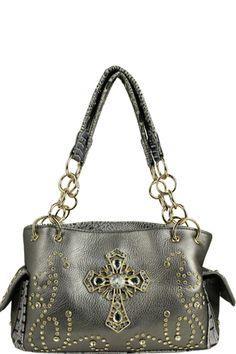 Rhinestoned Cross Chained Bag Grey