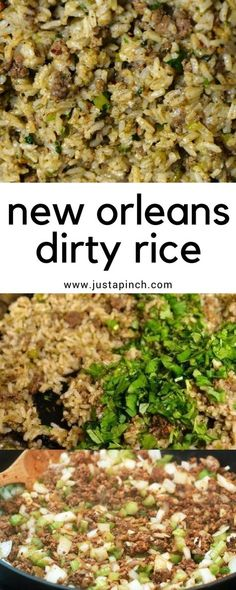 Cajun rice or dirty rice recipe from New Orleans! A classic Louisiana recipe! #ricedish #ricerecipe #neworleans #louisianarecipe #dirtyrice #cajunrice