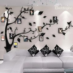 Unitendo Black Wall Stickers Photo Frames FamilyTree Wall Decal Easy to Install &Apply DIY Photo Gallery Frame Decor Sticker Home Art Decor (Black leaves-Left, L) Home Room Design, Home Interior Design, Living Room Designs, Living Rooms, Family Tree Wall Decor, Tree Wall Murals, Wall Stickers Home Decor, Wall Decals, Frames On Wall