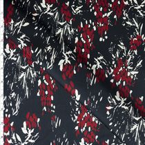 Red and White Floral on Dark Navy Stretch Sateen from 7 for all Mankind