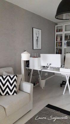 Stand Design, White Office Decor, Home And Living, Living Room, White Floor Lamp, White Laminate, Scandinavian Home, Home Office Design, Small Rooms