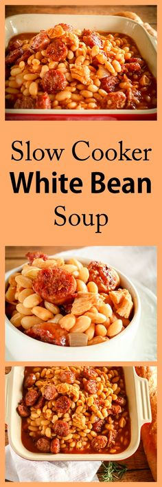 Super Easy Slow Cooker Crock Pot White Bean Soup Recipe with Conecuh Sausage