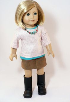 American Girl 18 inch doll outfit  skirt two tshirts by WhoaItsMe, $16.00