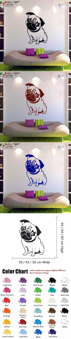 Free Shipping - Cute Pug Dog Wall Stickers Home Decor - Funny Dog Vinyl Wall Decal Mural - Bedroom,Kitchen Wall Art Decoration $7.98
