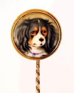 "Enamel Spaniel Stick Pin, Queen Victoria's ""Dash"" Queen Victoria Family, Victoria Reign, Queen Victoria Prince Albert, Victoria And Albert, Victoria Pbs, Cavalier King Charles, King Charles Spaniel, Miniature Portraits, Dog Jewelry"
