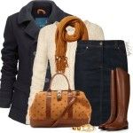 Denim Pencil Skirt For Winter Outfit