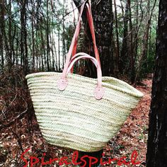 French Moroccan Market Basket Bag with Double Handle, French Market Bag