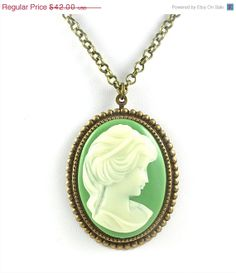 ON SALE Cameo Necklace Green and Brass Cameo by TashaHusseyJewelry, $25.20