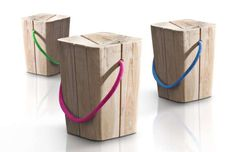 Italian studio Emo Design has created the Hug Stool for Elite Kriterio Srl. The stool is handcrafted from teak or white teak and comes with string handle Outdoor Stools, Indoor Outdoor Furniture, Log Stools, Outdoor Seating, Wooden Stool Designs, Wooden Furniture, Furniture Design, Creation Deco, Wood Stool