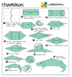 Chameleon - Easy Origami instructions For Kids Origami Tooth, Origami Car, Origami Mouse, Origami Star Box, Origami Models, Origami Fish, Modular Origami, Origami Folding, Easy Origami