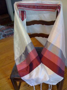 Pink and Silver Silk Tallit by CustomTallit on Etsy, ColorVibeDesigns.com ] #Tallit #scarf #design