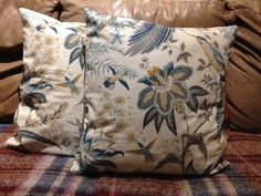 Pair of vintage fabric 16inch cushions