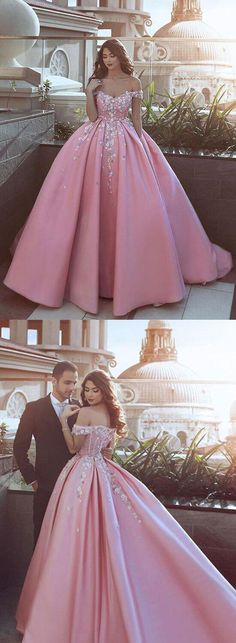 Ball Gown Off Shoulder Pink Satin Prom/Evening Dress With Flowers  #Promdresses2018#eveningdresses#promgowns#pinkpromdresses#ballgownpromdresses#offshoulderpromdresses#pinkeveningdresses