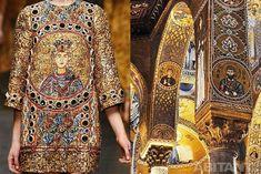 Мода, искусство и архитектура. Платье из зимней коллекции Dolce&Gabbana 2014 и декор Паллатинской капеллы  #мода #дизайн #архитектура #искусство #fashion #art