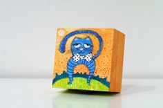 Funny cat art box - Childrens room decor - Nursery decor - Animal art box - Birthday gift for kids - Easter gift for cat lovers - Cat painting on wood box