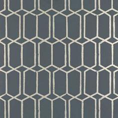 Schumacher Modern Trellis Charcoal Metallic Wallpaper