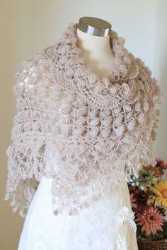 Wedding Shawl Beige Shawl Crochet Shawl Bridal by MODAcrochet