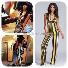 #CardiB's Yellow, White, Black Striped Jumpsuit #LHHNY