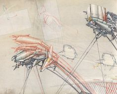 Drawing ARCHITECTURE | HIGH HOUSES by LEBBEUS WOODS