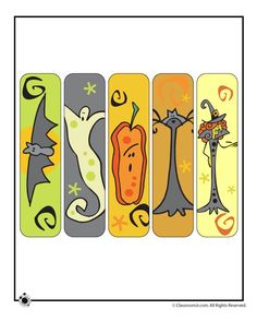 feebie printable halloween bookmarks for you to give to the kiddies in your life attach a treat to the back of them and give out for halloween - Halloween Book Marks