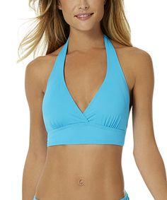 Look at this #zulilyfind! Aqua Marilyn Halter Bikini Top #zulilyfinds