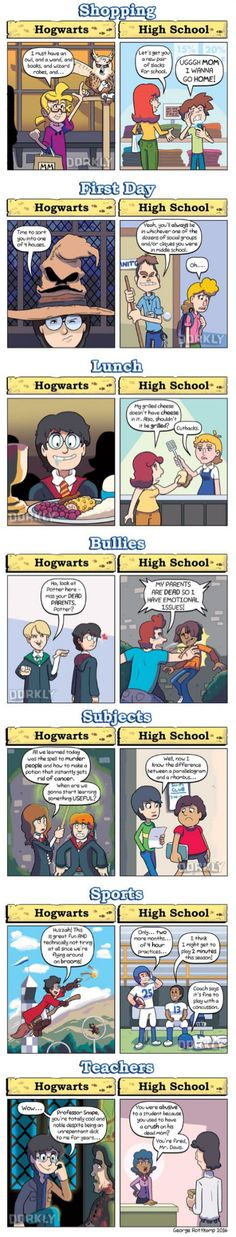 Real High School The post Harry Potter Schools vs. Real High School appeared first on Paris Disneyland Pictures. Harry Potter Comics, Memes Do Harry Potter, Arte Do Harry Potter, Harry Potter Fandom, Harry Potter Universal, Harry Potter World, Voldemort, Funny Love, Funny Comics