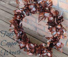 Faux Copper Floral Wreath | AllFreeChristmasCrafts.com