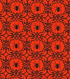 Holiday Inspirations Halloween Fabric - Spiders Damask Org Glitter