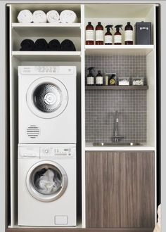 Laundry space - utilize the spaces between and build custom shelving units