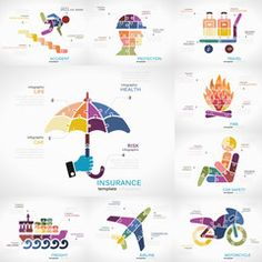 Insurance infographic collection pack with Accident, Protection, Travel, Fire, Car safety, Freight, Airline and Motorcycle puzzle illustrations Explore Travel, Royalty Free Images, Travel Photos, Infographic, Safety, Puzzle, Clip Art, Motorcycle, Fire