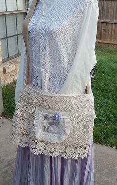 """Shabby Chic """"Trust in the Lord"""" Crocheted and Lace Handmade Romantic Sling Bag, Magnolia Pearl Bag, Cream and White Bag, Christian Bag by CrossMyHeartBags on Etsy"""