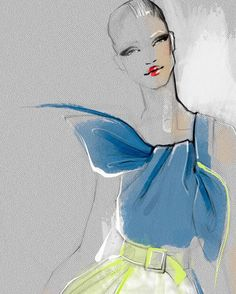 Illustration by Julija Lubgane Zoom... zoom! Vibrant navy with a mix of gold lime. House of Herrera