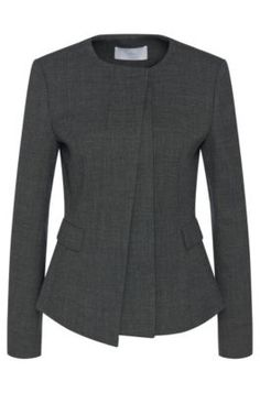 Hugo Boss Jadela Stretch Virgin Wool Asymmetrical Blazer — UFO No Blazer Fashion, Hijab Fashion, Fashion Outfits, Traje Casual, Semi Formal Wear, Boiled Wool Jacket, Suits For Women, Clothes For Women, Corporate Wear
