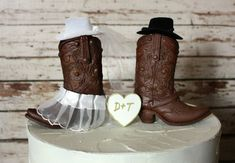Western cowboy boots wedding cake by MorganTheCreator on Etsy, $42.00
