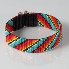 Native American Style Rainbow Bead Loom Bracelet - Artisanal Jewelry - Southwestern - Western Jewelry - Beaded Bohemian - Tribal - Boho by PuebloAndCo on Etsy