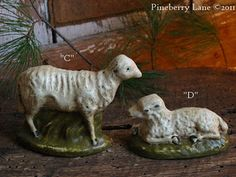 Old Chalkware Sheep...& sprigs of pine.