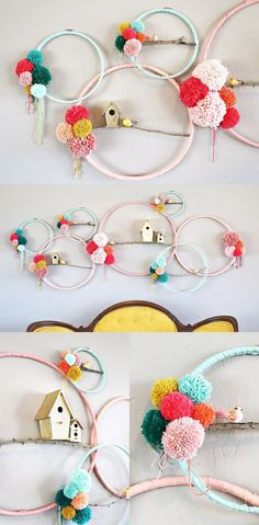 Giant Pom Poms and Hoops