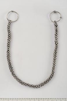 Viking Age silver chain with 2 attached rings, Hälsingland, Sweden
